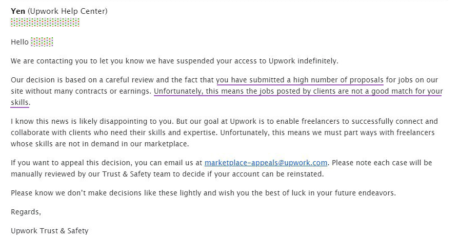 upwork suspended